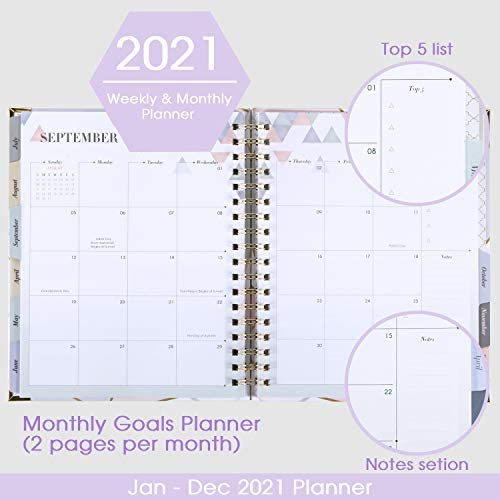"2021 Planner - Weekly & Monthly Planner with Tabs + Luxury Vegan Leather and Thick Paper, Back Pocket with 15 Notes Pages + Gift Box - 8.25"" x 9.25"" 4"