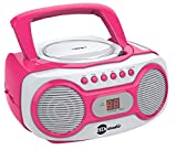 HDi Audio CD Boombox CD-518 Pink Sport Stereo Portable CD Player with AM/FM Radio and Aux Line-in Boombox White/Pink