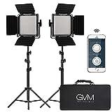 GVM 2 Pack LED Video Lighting Kits with APP Control, Bi-Color Variable 2300K~6800K with Digital Display Brightness of 10~100% for Video Photography, CRI97+ TLCI97 Led Video Light Panel +Barndoor