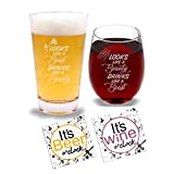 His & Hers (Sip Happens) - Beer Pint Glass & Wine Glass Combo with Coaster Set and Gift Box - Funny Novelty Present for Wedding Engagement Housewarming Couples