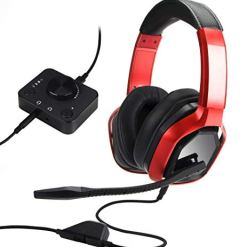 AmazonBasics Premium Gaming Headset for PC and Consoles (Xbox, PS4) with Desktop Mixer – Red