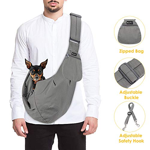 SlowTon Pet Carrier, Hand Free Sling Adjustable Padded Strap Tote Bag Breathable Cotton Shoulder Bag Front Pocket Safety Belt Carrying Small Dog Cat Puppy Machine Washable 1