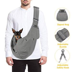 SlowTon Pet Carrier, Hand Free Sling Adjustable Padded Strap Tote Bag Breathable Cotton Shoulder Bag Front Pocket Safety Belt Carrying Small Dog Cat Puppy Machine Washable