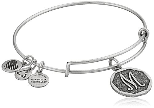 Alex and Ani Rafaelian Silver-Tone Initial 'M' Expandable Wire Bangle Bracelet, 2.5'