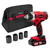 "20V MAX Cordless Impact Wrench with 1/2"" Chuck, Max Torque 230N.m, 4Pcs Driver Impact Sockets, Tool Bag and 1.5A Li-ion Battery, Avid Power"
