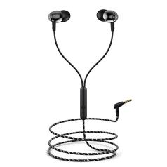 boAt BassHeads 162 with HD Sound, in-line mic, Dual Tone Secure Braided Cable & 3.5mm Angled Jack Wired Earphones (Black)
