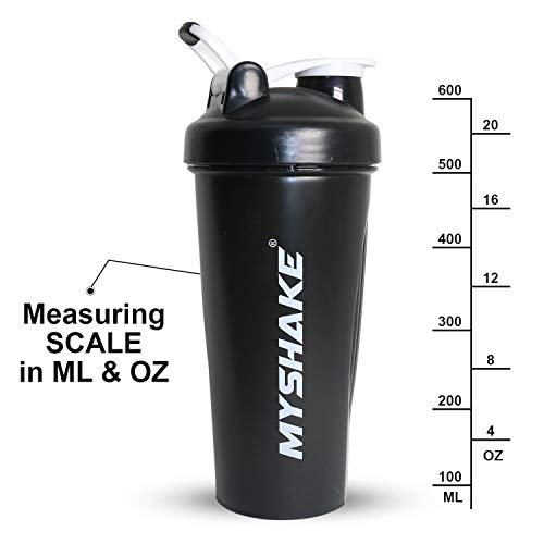Myshake Classic Protein Shaker Bottle for Gym with Silicon Flip 600 ml - (Black) 4
