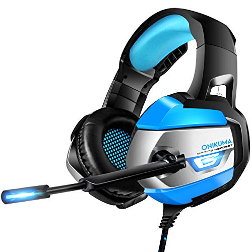 ONIKUMA Gaming Headset for PS4, PC Headset with Enhandced Surround Sound, Xbox One Headset for PS4, Xbox One, PC, Mac, Nintendo Switch, Noise Cacelling Mic, Zero Ear Pressure, Mute & Volume Control