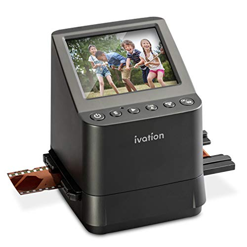 Ivation High Resolution 23MP Film Scanner Converts 135, 110, 126, Black and White, Films Slides and Negatives into Digital Photos, Vibrant 3.5' 3.5' Color LCD Display, Easy Quick Load Film Inserts
