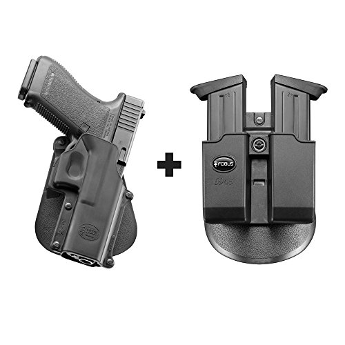 Fobus GL-3 Paddle Concealed Carry Holster Glock 20, 21, 21SF, 37, 41, ISSC M22 + 6945 Double Magazine Pouch