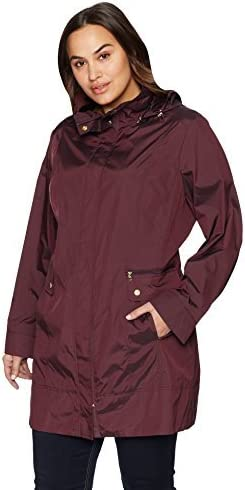 Cole Haan Women's Single Breasted Travel Packable Rain Jacket