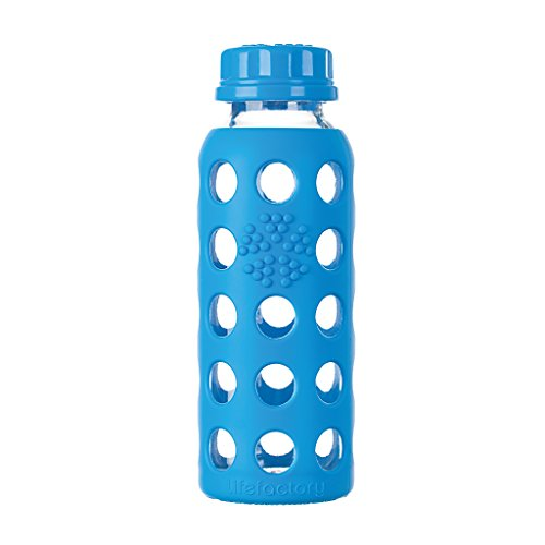 Lifefactory 9-Ounce BPA-Free Glass Baby Bottle with Flat Cap and Protective Silicone Sleeve, Ocean