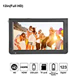 12 inch Portable Digital Television, Fosa Small 16:9 ATSC 1080P HD HDMI Video Player TFT LED TV Built-in Rechargeable Battery Support USB and TF Card for Car, Caravan, Camping, Outdoor or Kitchen(12')