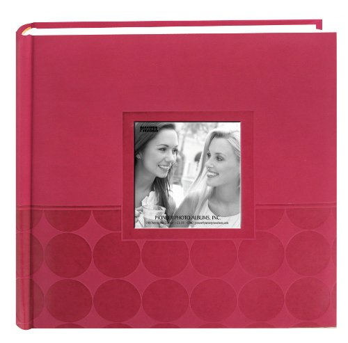 Pioneer-Embossed-2-Up-Photo-Album-4X6-200-Pockets-Pink-Circles