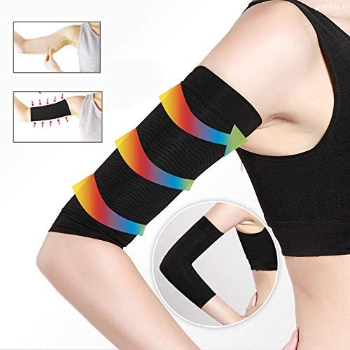 2 Pair Arm Slimming Shaper Wrap, Arm Compression Wrap Sleeve Helps Lose Arm Fat, Tone up Arm Shaping Sleeves for Women, Sport Fitness Arm Shapers(Beige + Black) 2