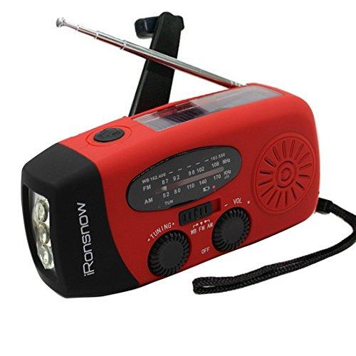 (2018 Version) iRonsnow Solar Emergency NOAA Weather Radio Dynamo Hand Crank Self Powered AM FM WB Radios 3 LED Flashlight 1000mAh Smart Phone Charger Power Bank (Red)
