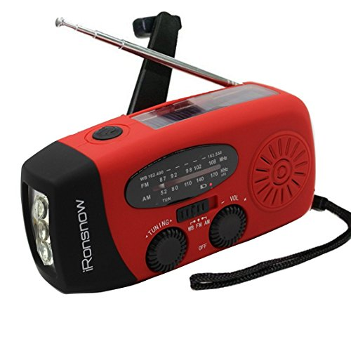 (Classic Creator) iRonsnow Solar Emergency NOAA Weather Radio Dynamo Hand Crank Self Powered AM FM WB Radios 3 LED Flashlight 1000mAh Smart Phone Charger Power Bank(Red)