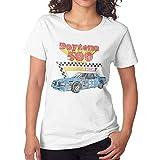 Luoyuers NASCAR Vintage Daytona 500 Women's Short Sleeve Round Neck Loose Casual T-Shirt S White