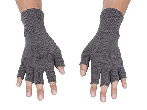 Gravity Threads Unisex Warm Half Finger Stretchy Knit Gloves, Grey