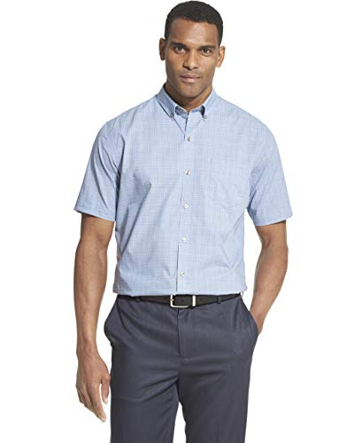 Van Heusen Men's Flex Short Sleeve Button Down Check Shirt, Blue Thunder, Large