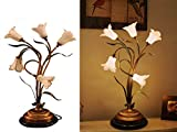 SALSA LIGHTING Crafted Table Lamp,Colored Lily Flower Accent Shaped Glass Shade Desk Lamp with Bronze Base for Art Deco, Bedside,Bedroom,Dining Room,Living Room,White