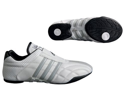 adidas Taekwondo Adilux Shoes (9.5, White W/Gray Stripe)