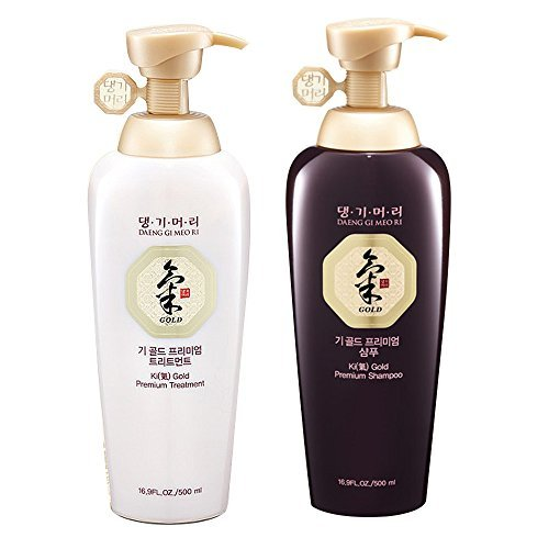 Daeng Gi Meo Ri Ki Gold Premium Shampoo + Treatment Set (500ml) for Hair Loss, Thin Hair, Gray Hair Prevention and Treatment, Medicinal Herbal Shampoo, All Natural, Korea's No. 1 Hair Brand