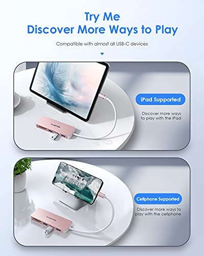 LENTION USB C Hub with 3 USB 3.0 and SD/Micro SD Card Reader Compatible 2020-2016 MacBook Pro 13/15/16, New Mac Air/iPad Pro/Surface, ChromeBook, More, Multi-Port Type C Adapter (CB-C15, Rose Gold)
