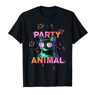 Party Cat: Party Animal Colorful Graphic T-Shirt