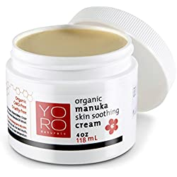 Organic Manuka Honey Eczema Cream, Psoriasis, Rosacea, Dermatitis and Rashes, Gentle for Babies & Children, Provides Instant & Lasting Relief for Severely Dry, Cracked, Itchy, Red & Irritated Skin
