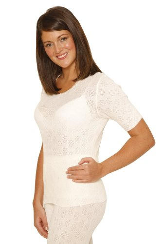 2 PackOCTAVE Ladies/Womens Thermal Underwear Short Sleeve T-Shirt/Vest/Top (OS: Bust 38-40 inches, White)