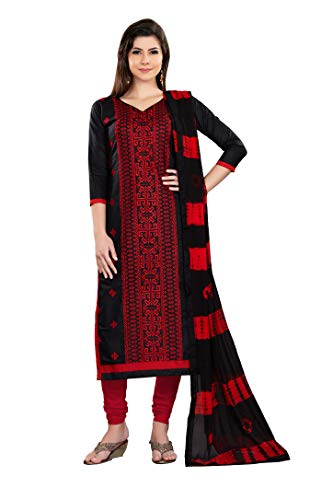 Rajnandini Women's Black and Red Pure Cambric Cotton Embroidered Unstitched Salwar Suit Material (Free Size)
