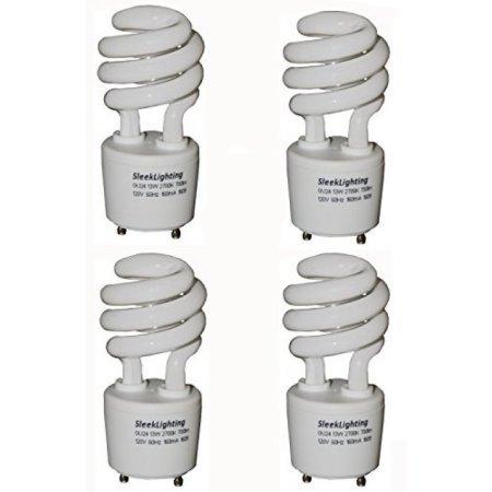 SleekLighting 13Watt T2 Spiral CFL GU24 Light Bulb Base 2700K 700lm,Compact Fluorescent - 4pack