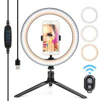 "10"" Ring Light LED Desktop Selfie Ring Light USB LED Desk Camera Ringlight 3 Colors Light with Tripod Stand iPhone Cell…"
