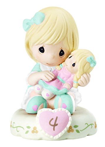Precious Moments 152010 Growing In Grace, Age 4 Girl Bisque Porcelain Figurine Blonde