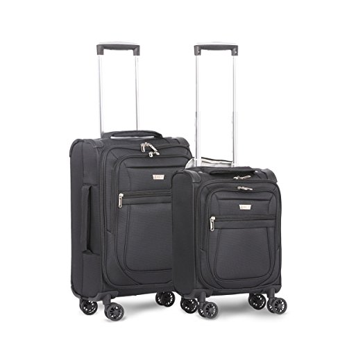 "Aerolite Carry On 21"" & Underseat 17 Inch Ultra-Lightweight Spinner Suitcase Set for Delta, American, United & Southwest Airlines (Black)"