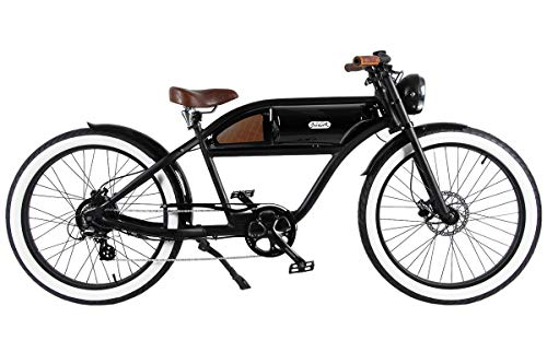 "T4B Michael Blast Greaser Retro eBike Electric Bicycle Bike 26"" 350W 36V - Bk/Bk"
