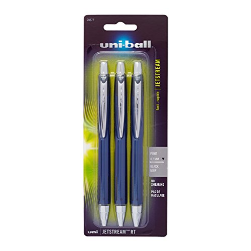 Uni-Ball Jetstream Retractable Ball Point Pens,0.7mm, Black Ink, 3-Count