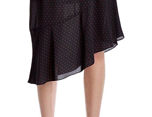 41G5XBHNMXL Machine Wash Crew-neck sheath dress in polka dots featuring double seamed waist and asymmetric hem with elongated ruffle Sleeveless, hidden back zipper