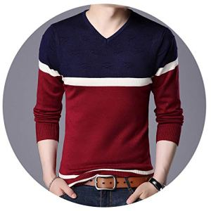 NanGate Knitted Solid Simply Pullover Men V Neck Long Sleeve Sweater Pull Homme S-XXL,25815,S