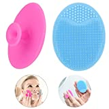 Face Scrubber,2 Pack Soft Silicone Scrubbies Facial Cleansing Pad Face Exfoliator Face Scrub Face Brush Silicone Scrubby for Massage Pore Cleansing Blackhead Removing Exfoliating,Cool Gift for Girl