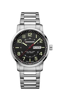 Wenger Men's Sport Swiss-Quartz Watch with Stainless-Steel Strap, Silver, 22 (Model: 01.1541.102)