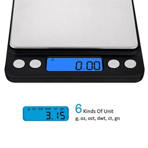 AMIR-Digital-Kitchen-Scale-500g001g-Mini-Pocket-Jewelry-Scale-Cooking-Food-Scale-with-Backlit-LCD-Display-2-Trays-6-Units-Auto-Off-Tare-PCS-Function-Stainless-Steel-Battery-Included-Black