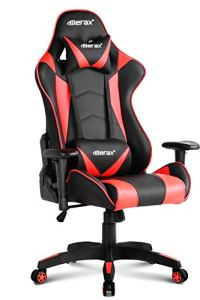 Merax PP033082JAA Gaming High Back Computer Ergonomic Design Racing Chair, 27.6' L X 27.6' D X 52.4' H, Red