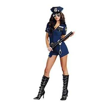 Dreamgirl Women's Officer B Naughty Costume, Blue, Medium