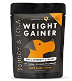 Buddy & Lola Weight Gainer for Dogs (45 Servings) Healthy Weight Gainer Supplement for Dogs – Muscle Builder, High Calorie Energy & Performance Supplement for All Breeds. Made in The USA