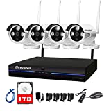 eyedea 4 CH 5000TVL HD 960P WiFi NVR Wireless 1.3MP Camera Video Surveillance DVR IP Network Night Vision Home Store Business Waterproof CCTV Security Camera 1TB Hard Drive