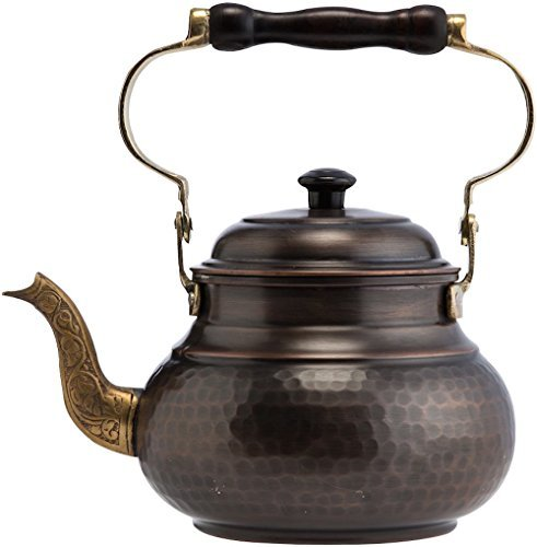 DEMMEX-2017-Hammered-Copper-Tea-Pot-Kettle-Stovetop-Teapot-16-Quart-Antique-Copper