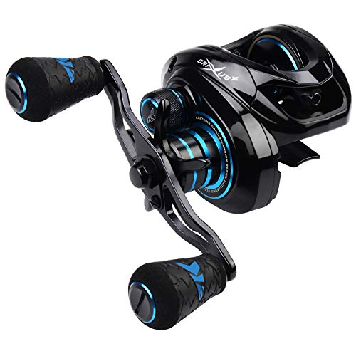 KastKing Crixus Baitcasting Reel Dark Star Version, 7.2:1 Gear Ratio Fishing Reels, Carbon Infused Nylon Frame, 7+1 Shielded SS Bearings, Magnetic Brake, 17.6 lb Carbon Fiber Drag, Super Polymer Grips