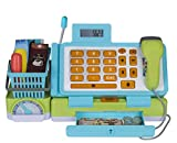 Playkidiz Interactive Toy Cash Register for Kids with Sounds and Early Learning Play, Includes Fake Money, Handheld Scanner, Shopping Basket, Food Boxes, Plastic Fruit and More.